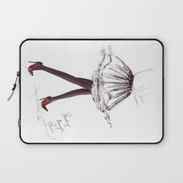 Watercolour Fashion Illustration Titled Strolling through Paris Laptop Sleeve