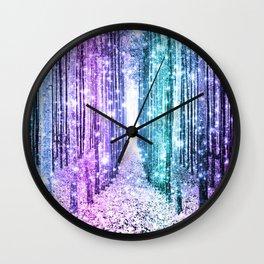 Magical Forest Lavender Aqua Teal Ombre Wall Clock