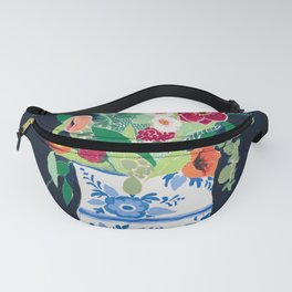 Bouquet of Flowers in Blue and White Urn on Navy Fanny Pack