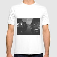 late night in Ghent  White MEDIUM Mens Fitted Tee