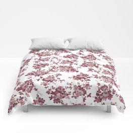 Elegant pastel pink marsala red roses floral pattern Comforters