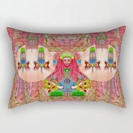 lady panda in the enchanted forest with magic flowers Rectangular Pillow