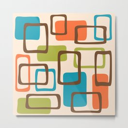 Mid Century Modern Abstract Squares Pattern 454 Metal Print