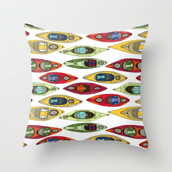 I Heart Kayaks Pattern Throw Pillow