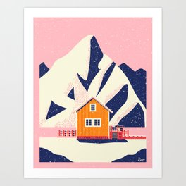 A Winter House in Norway Art Print