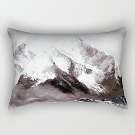 Panoramic View Of Everest Mountain Painting Rectangular Pillow
