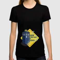 Doctor Who Tardis - Baby Timelord on Board Womens Fitted Tee SMALL Black