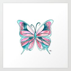 Pink and Blue Watercolor Butterfly Art Print