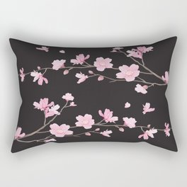 Cherry Blossom - Black Rectangular Pillow
