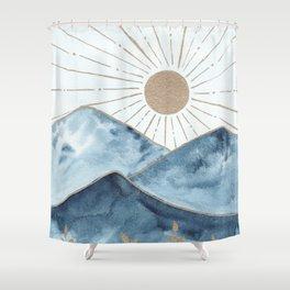 Indigo & gold landscape 1 Shower Curtain