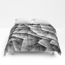 Monochrome pattern of chaotic black and white glass fragments, irregular cubic figures and ice floes Comforters