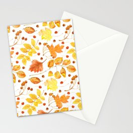 Watercolor autumn leaves seamless pattern on white background. Maple leave, hawthorn leave, birch le Stationery Cards