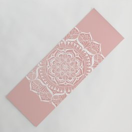 White Flower Mandala on Rose Gold Yoga Mat