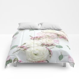 SPRING FLOWERS WHITE & PINK Comforters