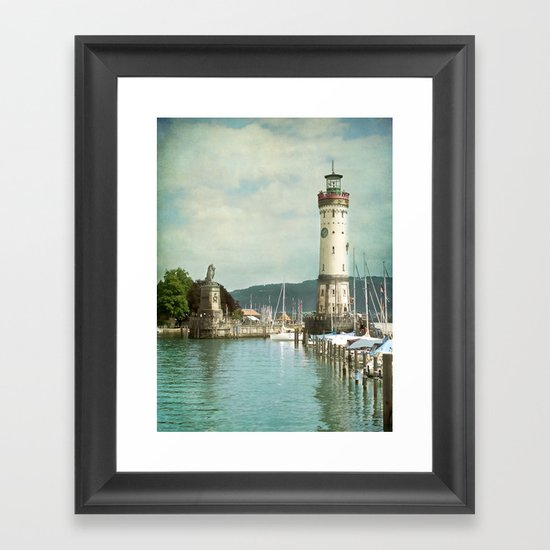 LINDAU LIGHTHOUSE - LAKE OF CONSTANCE Framed Art Print