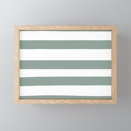 Valspar America Sea Green - Green Water - Zinc Blue Hand Drawn Fat Horizontal Stripes on White Framed Mini Art Print