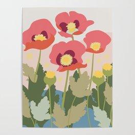 Poppies in the Fields, modern art design, wall art, poster Poster
