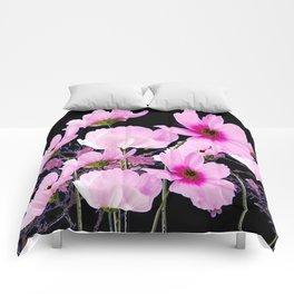 DELICATE PINK-FUCHSIA COSMO BLACK ART Comforters