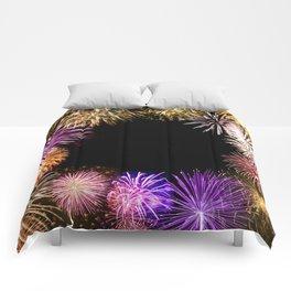 fireworks frame Comforters