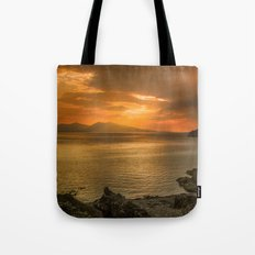 Sunset over Lismore Island of the shores of Oban in the west of Scotland. Tote Bag