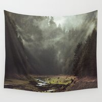 typography Wall Tapestries featuring Foggy Forest Creek by Kevin Russ