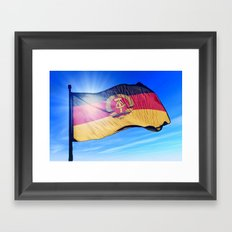 East Germany flag (1949 to 1990) waving on the wind Framed Art Print