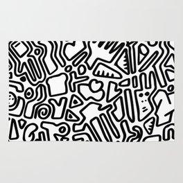 black & white doodle Rug