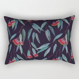 Eucalyptus leaves and flowers on dark violet Rectangular Pillow