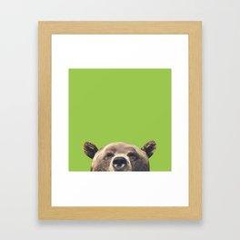 Bear - Green Framed Art Print