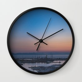 Greek sunset in Athens by the sea Wall Clock