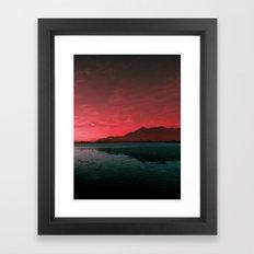 RED SKY OVER LAKE Framed Art Print