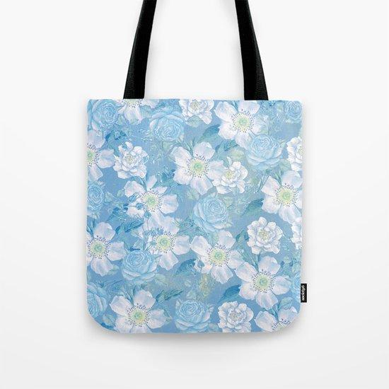 Blue Vintage Rose Pattern Tote Bag