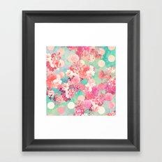 Romantic Pink Retro Floral Pattern Teal Polka Dots Framed Art Print