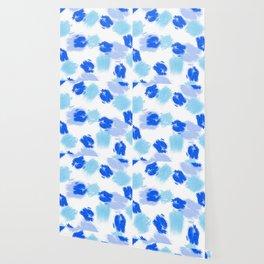 Blue paint brush effect surface pattern Wallpaper