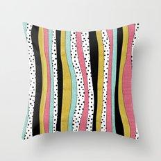 Polka Pink Blue Gold Wavy Stripes Throw Pillow