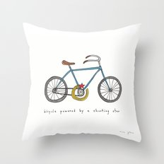 bicycle powered by a shooting star Throw Pillow