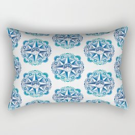 Journey to Moon Mountain | Turquoise Navy Ombré Rectangular Pillow
