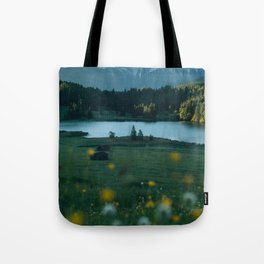 Sunrise at a mountain lake with forest - Landscape Photography Tote Bag