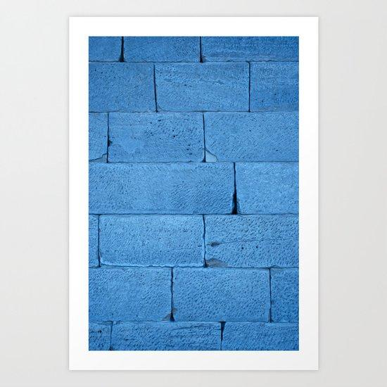 Blue bricks Art Print
