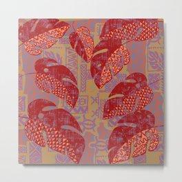 Hawaiian Lava Leaves Tapa Print Metal Print