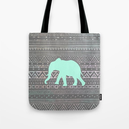Mint Elephant  Tote Bag