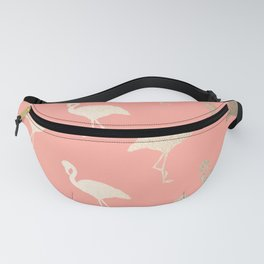 Gold Flamingo Pattern Coral Pink Fanny Pack