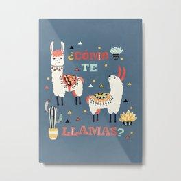 Como te Llamas. Funny Spanish Word Humor. Potted Cacti and two Llamas Metal Print