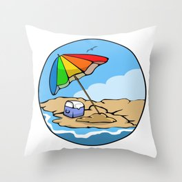 Summer Umbrella Throw Pillow
