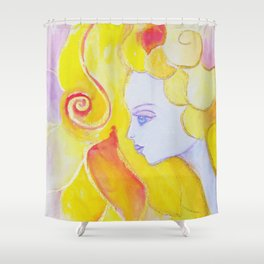 Lady Autumn Watercolor Art Nouveau Gold Shower Curtain