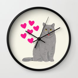 Purrfect grey cat cute kitten valentine gift for cat lady love kids art heart valentines day pets Wall Clock