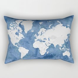 Navy blue watercolor and light grey world map with countries (outlined) Rectangular Pillow