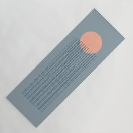 Ocean Wave Sun Blue - Mid Century Modern Yoga Mat