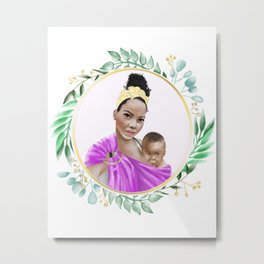 Woman of Color nursing her toddler son in a ring sling baby carrier // watercolor portrait and botanicals // pink green Metal Print