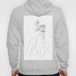 Minimal Line Art Woman with Flowers Hoody
